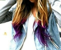 Dirty blonde with purple dip dye. I want to do this for hidradenitis supprativa, ovarian cancer and domestic violence awareness!