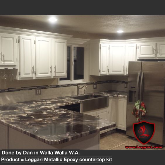 This countertop was coated with a Leggari Products DIY Metallic ...
