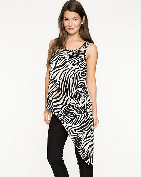 Zebra Print Crêpe de Chine Asymmetrical Tunic