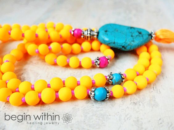 Neon MALA / Prayer Beads by BeginWithinJewelry on Etsy