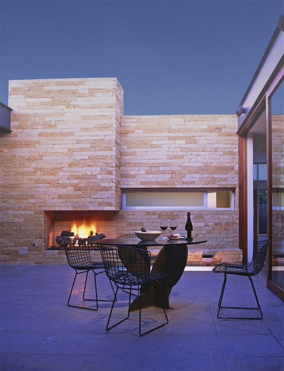 Awesome Modern Stone Outdoor Patio Fireplace Remodeling