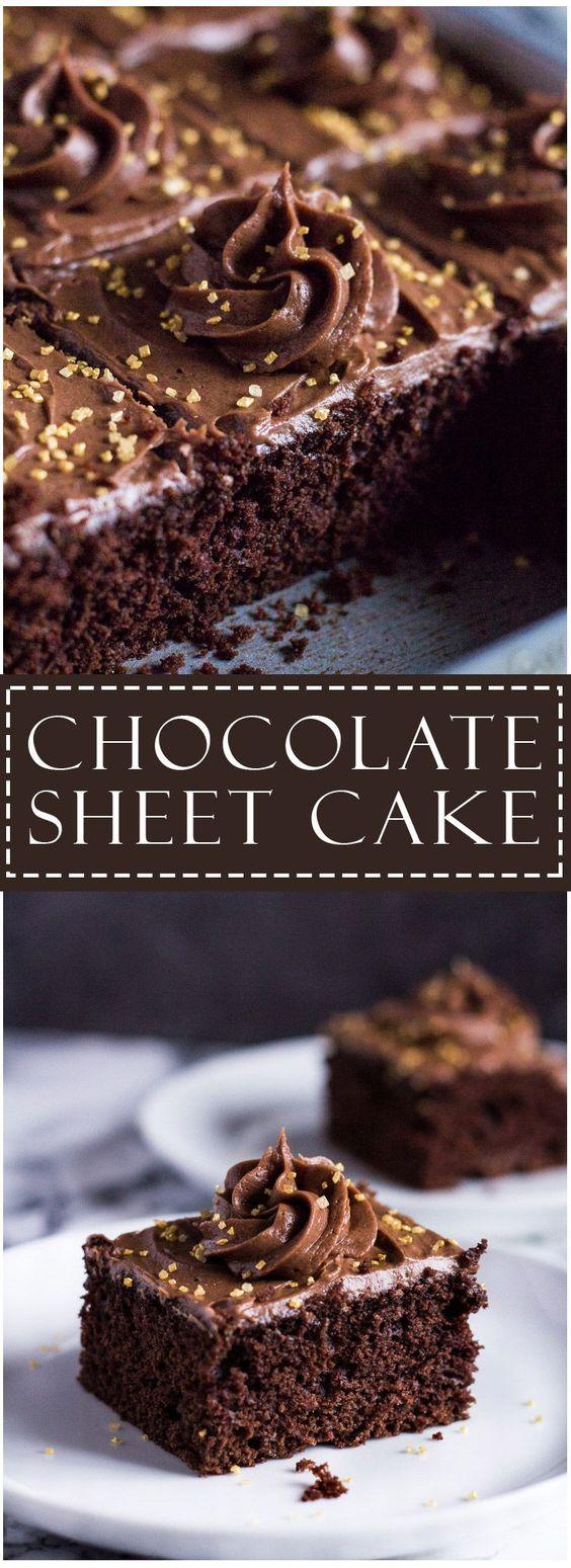 Chocolate Sheet Cake | http://marshasbakingaddiction.com /marshasbakeblog/