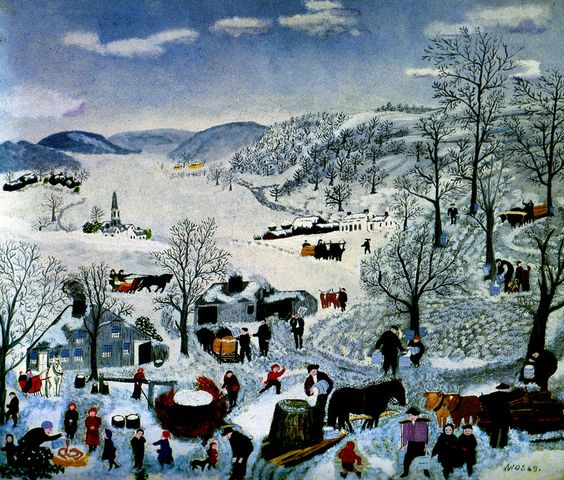 """""""Sugaring Off"""" Painting by Grandma Moses. Sold in 2006 after her death for 1.2 million. She started painting in her 70's when her arthritis made embroidery too painful. She produced over 2000 paintings."""