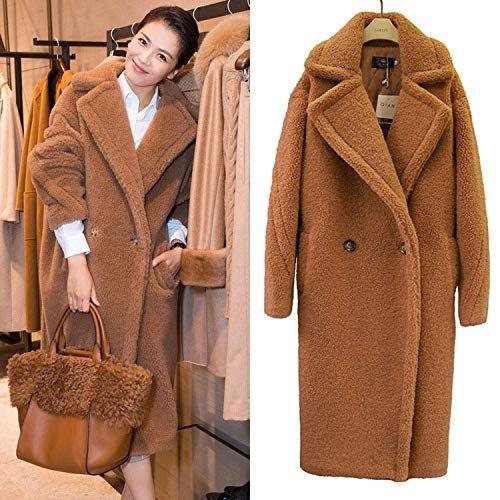 Women Cashmere Lamb Shearling Wool Warm Winter Fox Fur Collar Long Coat Trench