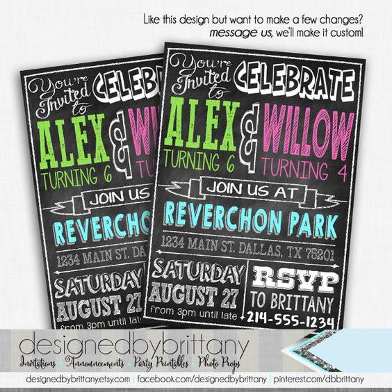 Chalkboard Double Birthday Invitation  by DesignedbyBrittany