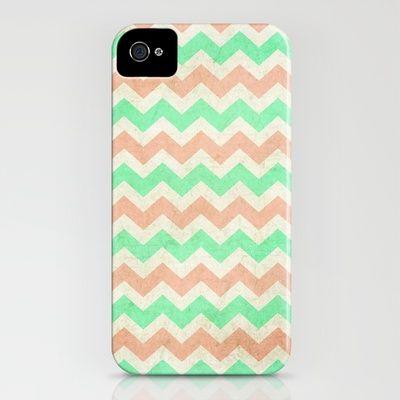 Mint & coral chevron print phone cover.