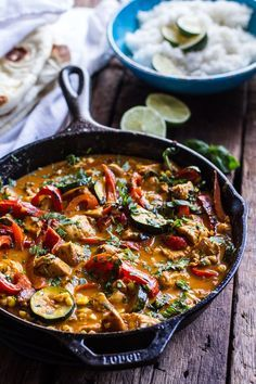 Simple Summertime Basil Chicken Curry with Coconut Ginger-Lime Rice