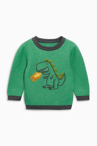 Acheter Pull vert à col ras du cou et motif dinosaure (3 mois - 6 ans)…
