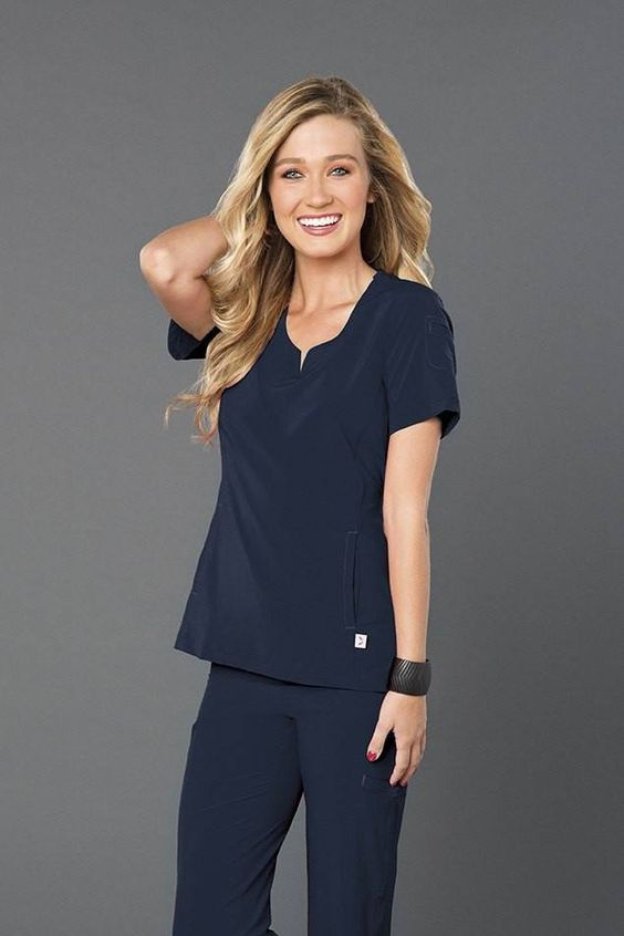 Angel Rock Notch Neck Solid Scrub Top - Navy Blue