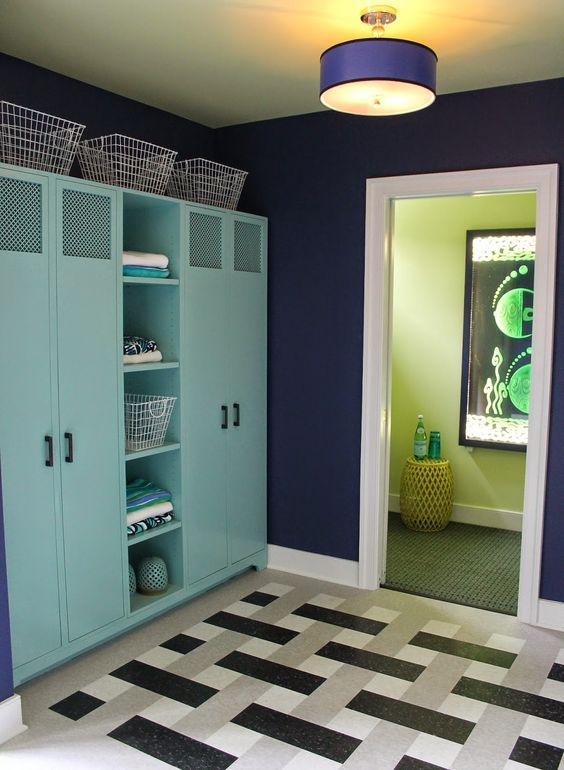 FLOOR TILES! - DC Design House 2014 Part 2. Pool changing room with lockers, bathroom, and laundry