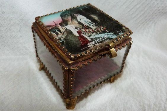 vintage glass trinket box, French religious jewelry box w Holy Virgin Mary our lady of Lourdes, antique souvenir box. $59.99, via Etsy.