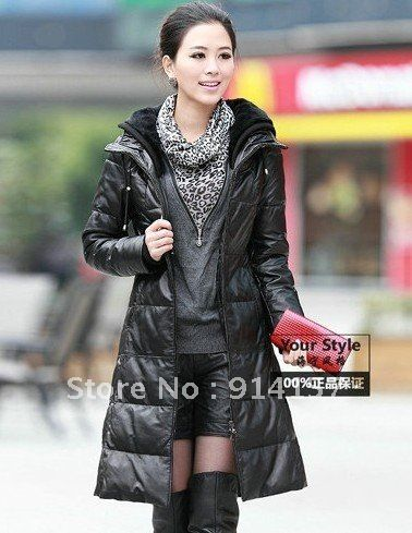 Free shipping! Leather clothing slim thickening ultra long paragraph genuine leather down coat rex rabbit hair sheepskin women's $598.66