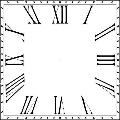 Square Roman Numeral 12 36 Clockface Wall Stencil Choice Of