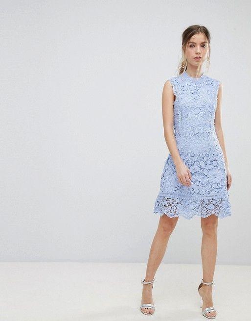 Boohoo Petite Exclusive Petite Bib Detail Lace Midi Dress In