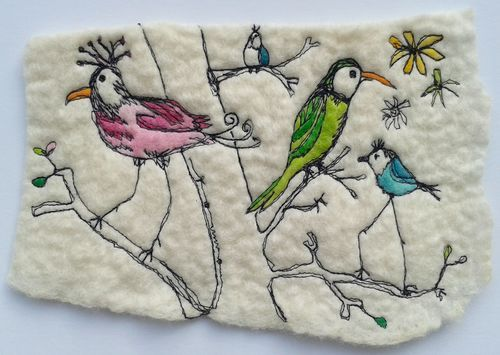 Bird Machine Sketch on felt http://rosiepink.typepad.co.uk/rosiepink/felting-tutorial-how-to-make-a-wet-felted-pod-vessel-using-a-resist.html