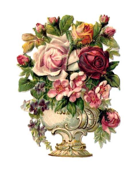Vintage Flower Urn Scrap: