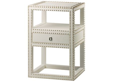 bungalow 5 marco side table textured lacquered grasscloth silver nailheads silver ring pull bungalow 5 white lacquered
