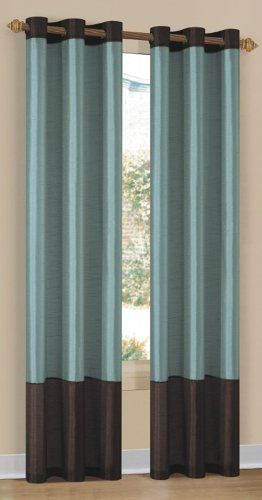 New 2 Piece Set: Grommet Panel Curtains Beige & Chocolate 80 ...