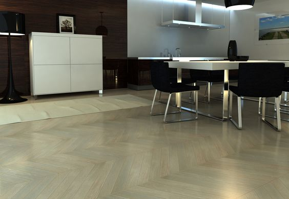 The apartment in a minimalism style, Warsaw (Poland), fashionable the design of interiors, parquet collection by Tavolini Floors. Prestige collection, oak Chevron parquet, color Luna, UV-varnish or natural oil finishing.