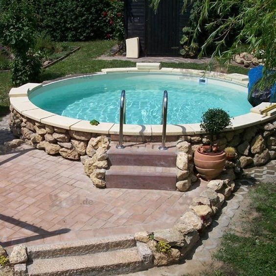 Above Ground Swimming Pool 21 Stylish Ideas For Small Home Small Backyard Pools Above Ground Pool Landscaping Backyard Pool Landscaping