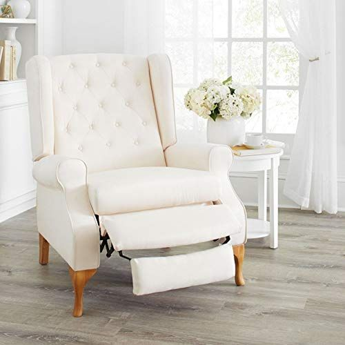 Brylanehome Queen Anne Style Tufted Wingback Recliner Ivory 0