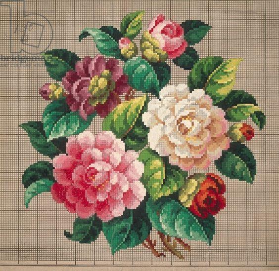 Букет от дизайн рози бродерия, 19-ти век: