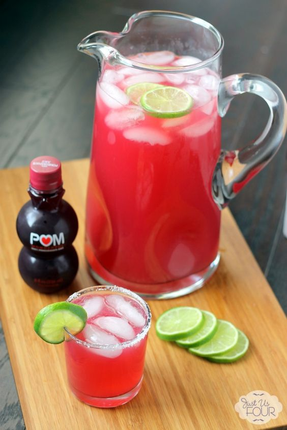 Three ingredient cocktails are my favorite. This pomegranate margarita gets made by the pitcher at our house.