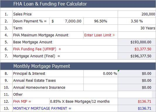 Fha Mortgage Calculator With Monthly Payment With Images Fha