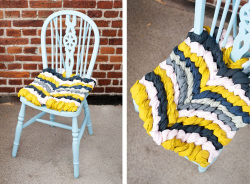 DIY friendship bracelet chair on Design Sponge. via: http://www.designsponge.com/2012/02/diy-project-friendship-bracelet-chevron-chair-cushion.html