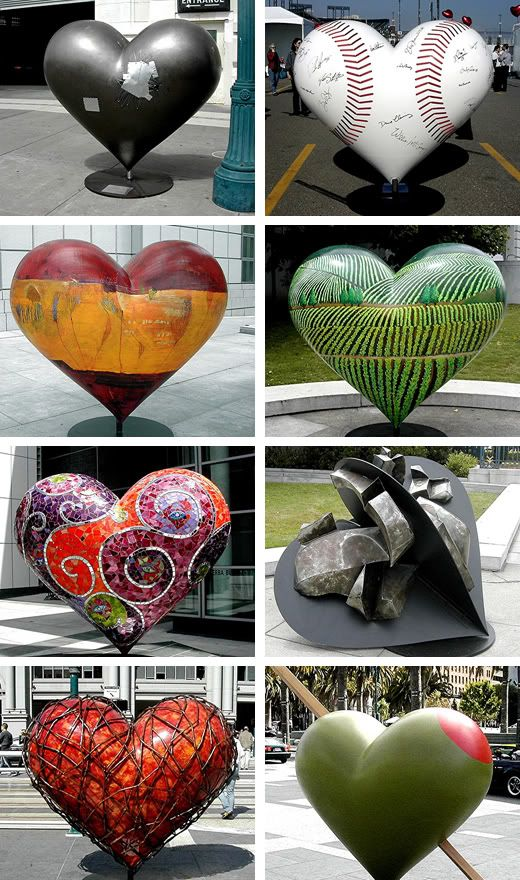 hearts of san francisco art project..can't find the website but these images are great ♥♥♥♥ ❤ ❥❤ ❥❤ ❥♥♥♥♥
