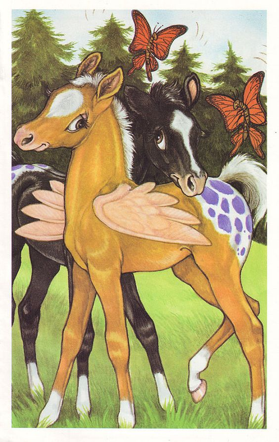 Illustration Winged Horses by thevintagemode on Etsy (Robin James):