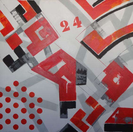Técnica mixta con acrilíco sobre lienzo, 100 x 100 cm
