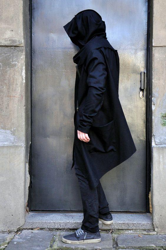 Black Casha - Wool Extra Long Sleeves Men's Coat / Thumb hole ...