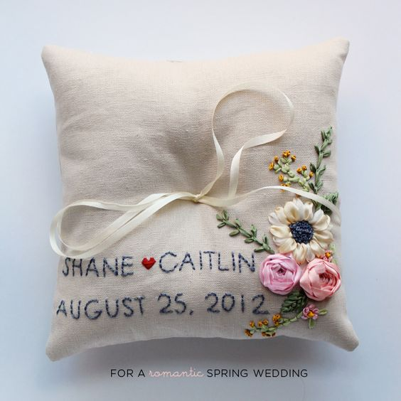 Embroidered personalized ring pillow michelle edgemont