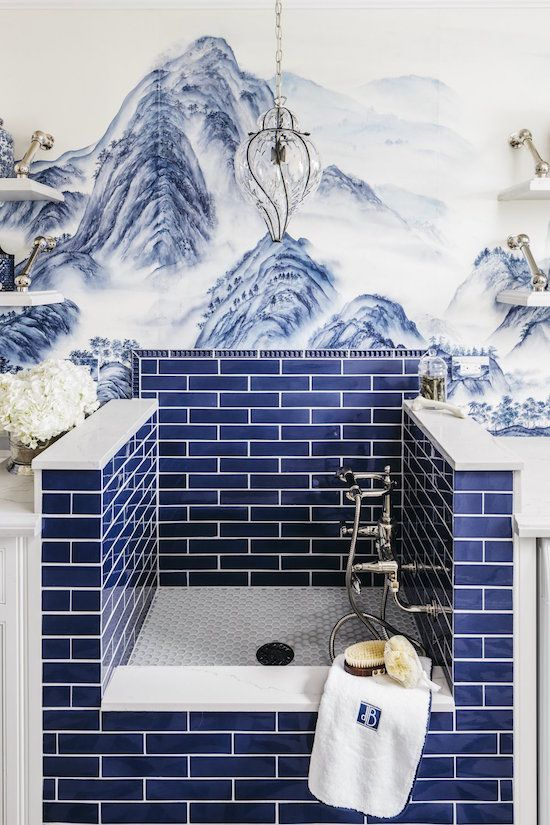 Bold blue tiled pet shower in a laundry room designed by Dina Bandman for the San Fransisco Decorator Showhouse made my jaw drop in the best way possible, #petshower #luxurious #laundryroom #bluetile