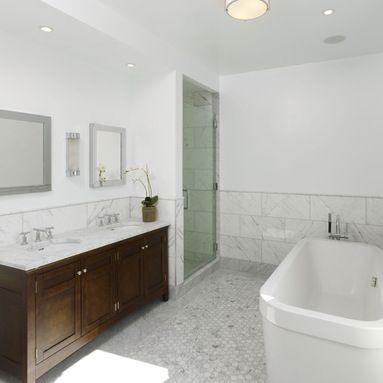 Honed 2x2 carrera hex bath floor design ideas pictures for Bathroom design 2x2