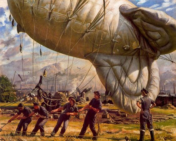 Dame Laura Knight, A Balloon Site. (WWII, Britain)