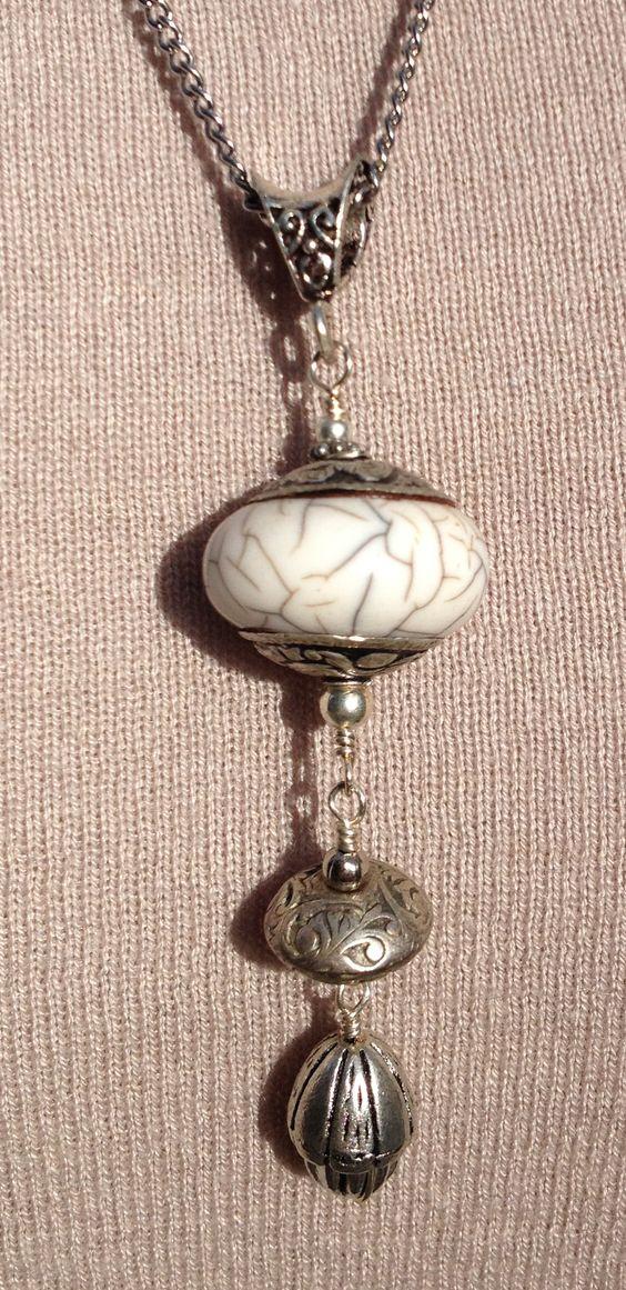 white himalayan bead pendant