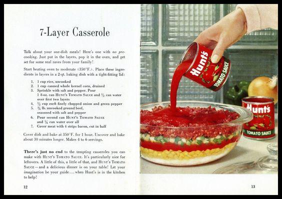 Hunts 7-LAYER CASSEROLE (Circa 1950′s) Vs McCallum Vintage Recipe Divas 9 -LAYER CASSEROLE 2013 Be sure to see BOTH recipes