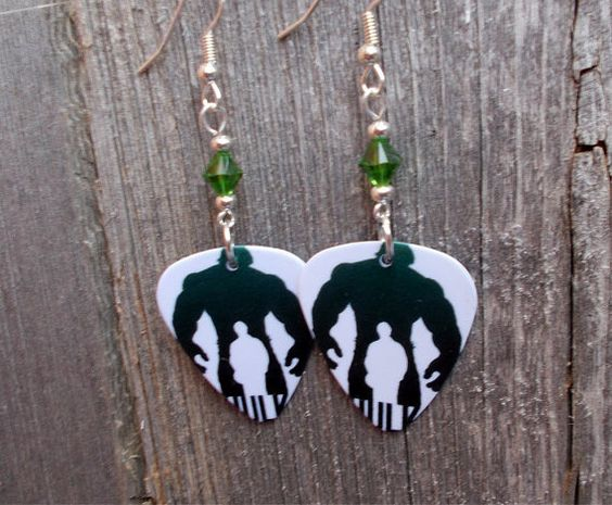 Hulk Silhoutte Guitar Pick Earrings with Green Crystals