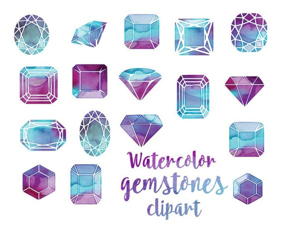 Watercolor gems cut crystals Hand painted gemstones clipart: