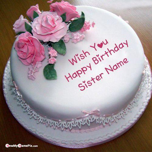 Sister Name Happy Birthday Princess Cake Photo Create Online In 2020 Happy Birthday Cakes For Women Birthday Cake Writing 80 Birthday Cake