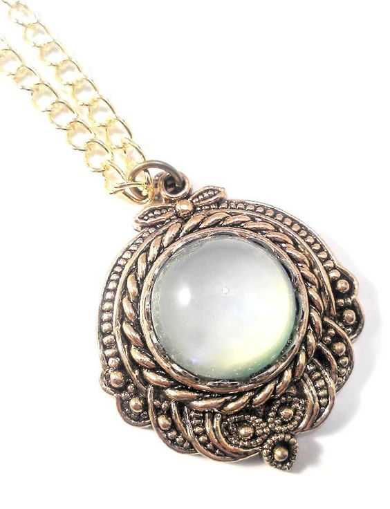 Vintage 1950's Czech Green Opal Moonstone Glass in Gold Rope Pendant on Necklace by JujusStuffs