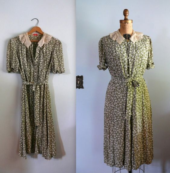 ON HOLD vintage 1930s Dress // Green Floral Rayon Wrap Dress ...