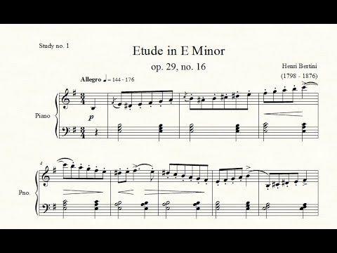 Study No 1 Etude In E Minor Op 29 No 16 Henri Bertini
