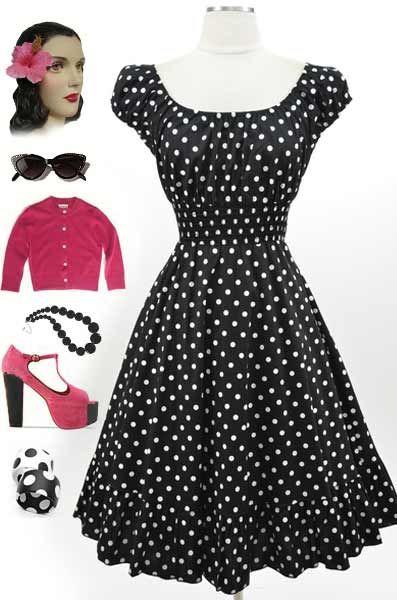 Подробные сведения о 50s Style Black &amp- White POLKA Dot PLUS SIZE ...
