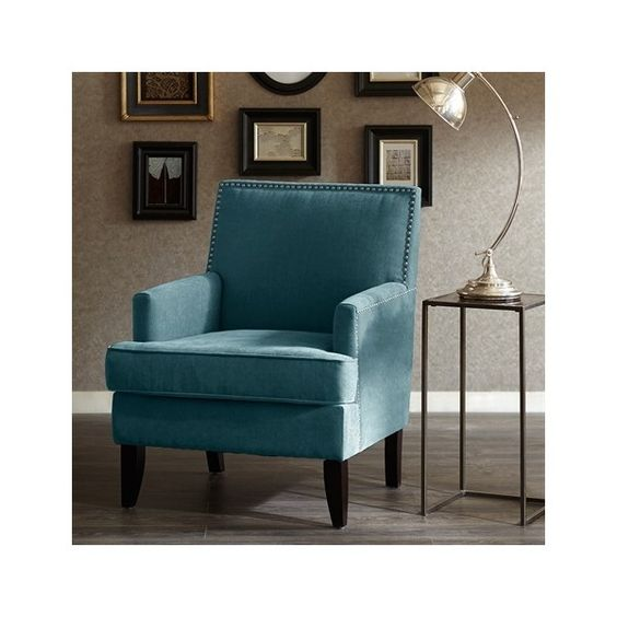 Madison Park Colton Track Arm Club Chair ($300) ❤ liked on Polyvore featuring home, furniture, chairs, accent chairs, blue, blue club chair, nailhead furniture, madison park furniture, nailhead trim chair and narrow arm chairs
