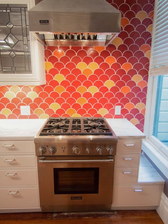 bright orange tile backsplash - photo #7