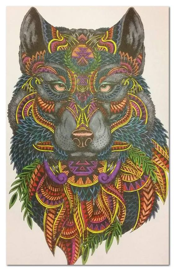 adult coloring art: wolf pencil and marker. Shared by #WeColorTheWOrld COmmunity member Tanner Blunk