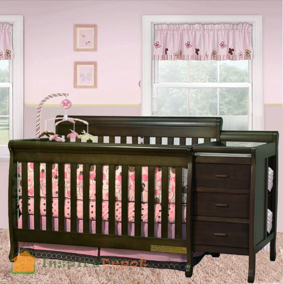 Multi Function Espresso Solid Wooden Baby Crib Combo Dresser Changing Table Pad Ebay